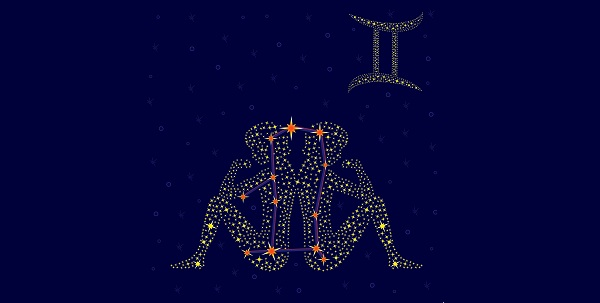 Zodiac sign Gemini on a background of the starry sky with the scheme of stars in the constellation vector illustration