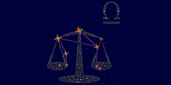 Zodiac sign Libra on a background of the starry sky with the scheme of stars in the constellation vector illustration